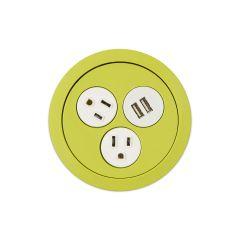 PCS73/USB-60C (Chartreuse) mockett desktop power grommet outlet usb