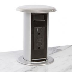 PCS77-23G (Glossy Metallic Silver) pop up electrical outlet kitchen counter power