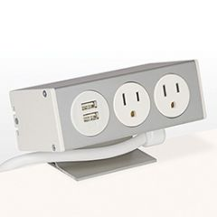 PCS80B/USB-95 (White) desk mount electrical outlet edge mount power