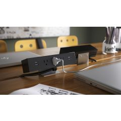 PCS86C/U2-90 (Matte Black) desk mount electrical outlet edge mount power