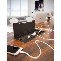PCS91/USB-90 (Matte Black) mockett desktop power grommet outlet usb