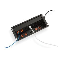 PCS92/USB-90 (Matte Black) mockett desktop power grommet outlet usb