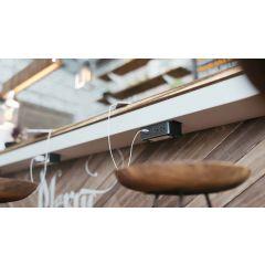 PCS99B-90 (Black) desk mount electrical outlet edge mount power usb