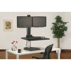 WS1-90 (Black) - Monitors not included Mockett Adjustable Height Sit Stand Desk Workstation