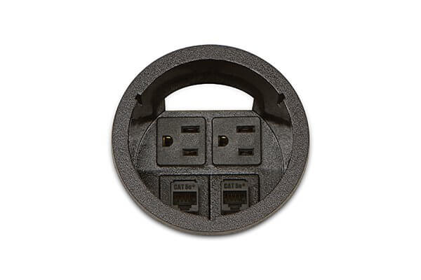 PCS1A/HW-90 (Matte Black) mockett desktop power grommet outlet hardwire