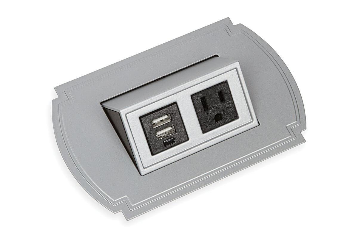 PCS43T/USB-23 (Metallic Silver) mockett pop-up electrical outlet power grommet usb