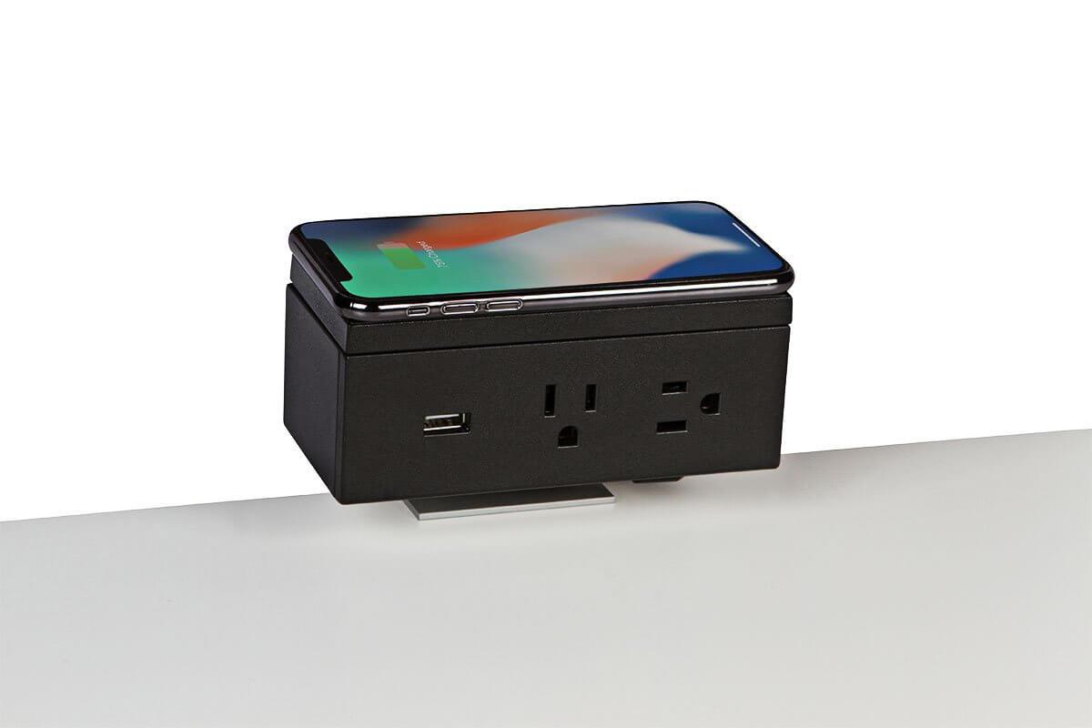 PCS86B/QI-90 (Matte Black) - desk mount electrical outlet edge mount power usb